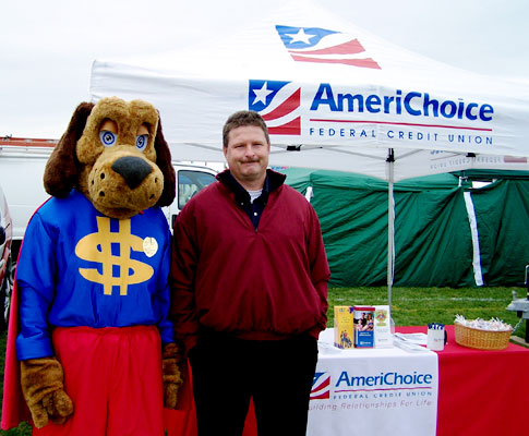 East Pennsboro Pumpkinfest - Loan officer Mark Beans with Dollar Dog